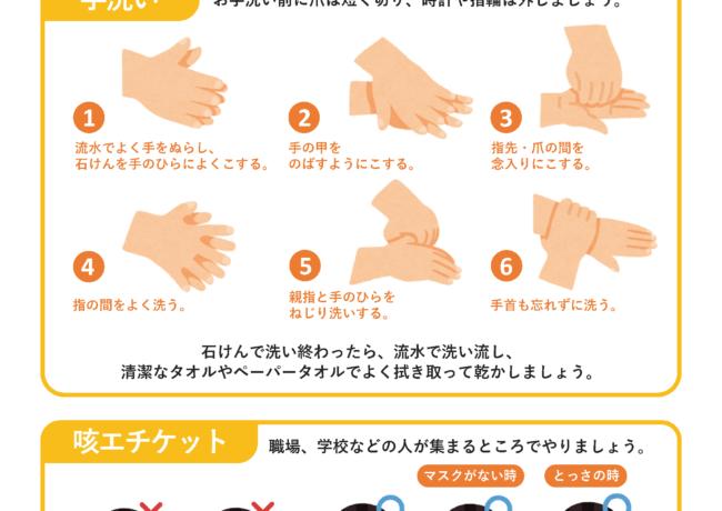 手洗い・咳エチケットのお願い 【新型コロナウイルス対策ツール】